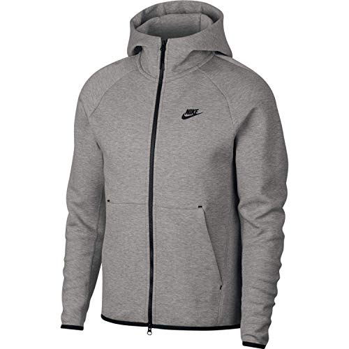 Nike Herren M NSW TCH FLC Hoodie FZ Sweatshirt, dk Grey Heather/Black/(Black), L