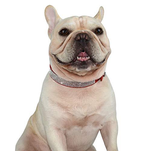 Hifrenchies Collar de Perro de Cuero de Gamuza Suave con Diamantes de imitación Brillantes para Frenchie,Collar Lindo y Deslumbrante para Perros de Gato pequeños y medianos
