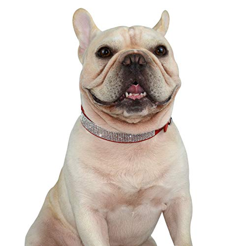 Hifrenchies Crystal Rhinestones Sparkling Diamonds Soft Suede Leather Dog Pet Collars for Frenchie,Cute Dazzling Shining Collar for Cat Puppy and Other Small Medium Dog(M,RED)