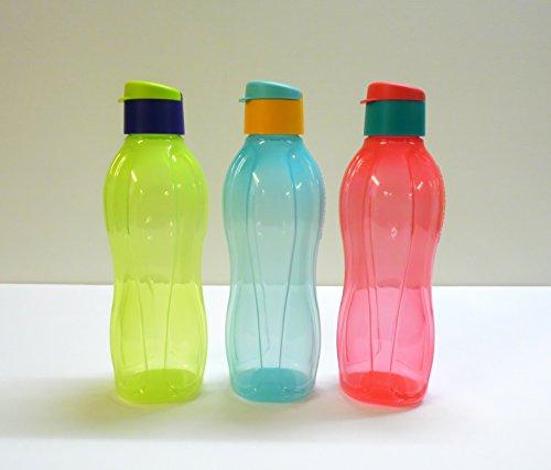 Tupperware Eco Easy (3) 750 ml Trinkflasche pink türkis gelb-grün Öko
