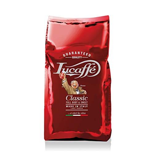 LUCAFFÈ Klassischer Kaffeebohnen-Kaffeebeutel 1 Kg spart Kaffeebohnenaroma 80% Arabica-Kaffee 20% robuster, süßer Geschmack, geröstete Aroma-Haselnuss-Noten, weicher Körper, hoher Koffeingehalt