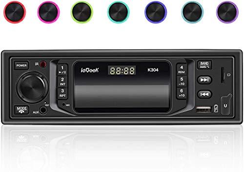 ieGeek Bluetooth Autoradio Vivavoce, Universal 1 Din Car Stereo 60W X 4, MP3 / FM/AM/SD/AUX/USB/RDS, 7 Colori LED, Displey del Orologio Indipendente con Telecomando