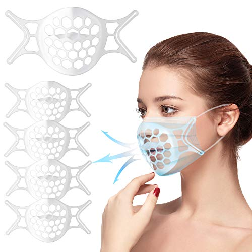 【5 PCS】Soporte para Mascarilla 3D, Estructura Interna De Silicona, Soporte Protector para Lápiz Labial Facial De Silicona Lavable Reutilizable