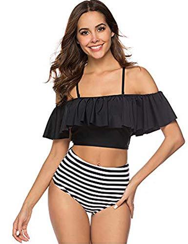 FeelinGirl Damen Neckholder Push Up Tankini mit Hotpants Badeanzug Schlankheits Mit Röckchen Bademode