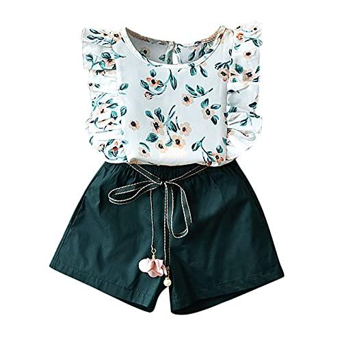 Allegorly Baby Mädchen\'Kostüm Set New Summer Top T-Shirt + Rock/Kurze Hose 2 Stücke Bekleidungsset Mädchen Sommerkleidung Set Kinder Blumendruck