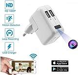 FiveSky HD 1080P Cámara oculta Cámara espía WiFi Spy Cam Cargador USB Microcámaras espía Detección del Movimiento Videocámara de Vigilancia Control APP