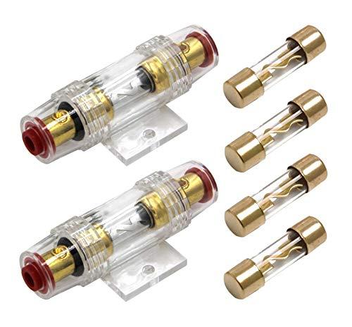Carviya Lot de 2 porte-fusibles étanches en ligne AWG 4-8 avec deux fusibles de type AGU 100 A pour audio/alarme/amplificateur/compresseurs