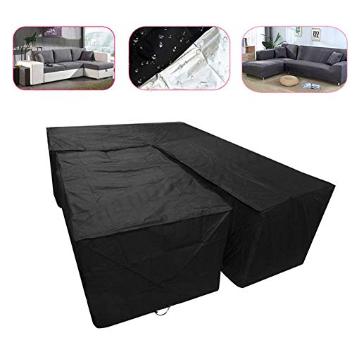 widesmile L Shape Dining Set Cover Waterproof Garden Furniture Covers Patio Corner Furniture Sofa Rattan Cover with Rectangular Desk Cover Black 192x260cm + 155x95x68cm