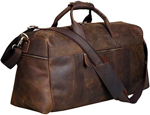 S-ZONE Unisex Vintage Genuine Buffalo Leather Holdall Duffle Gym Travel Weekender Holiday Sports Bag (Coffee)
