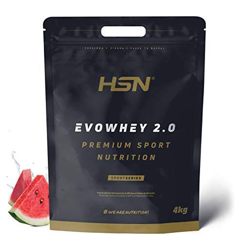 Whey Protein Concentrate de HSN Sports | Concentrado de Proteína de Suero Evowhey Protein 2.0 | Batido de Proteínas en Polvo, Vegetariano, Sin Gluten, Sin Soja, Sabor Sandía, 4Kg