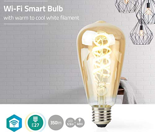 TronicXL - 3 bombillas Smart WiFi WiFi de diseño retro, blanco cálido, luz blanca fría, bombilla LED de repuesto E27 para Amazon Alexa Google Home accesorios ST64 grande