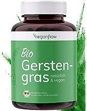 veganflow® Biologische gerstengras-capsules, hoog gedoseerd met 3000 mg per dagelijkse dosis, 270 stuks (ca. 4 maanden voorraad), hoog gehalte aan voedingsstoffen