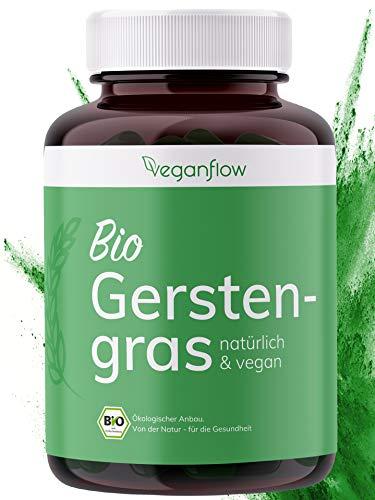 veganflow® BIO Gerstengras Kapseln, hochdosiert mit 3000mg je Tagesdosis, 270 Stk.(ca. 4 Monate Vorrat), hoher Nährstoffgehalt