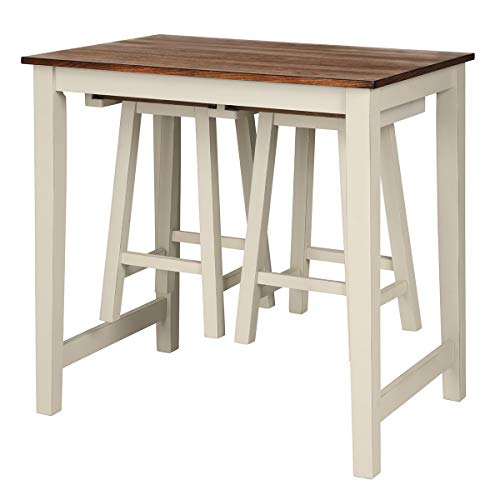 Giantex 3 Piece Pub Dining Set, Counter Height Pub Table with 2 Saddle Bar Stools, Tavern Collection Table Set for Living Room, Kitchen, Small Space (Brown & Milky White)