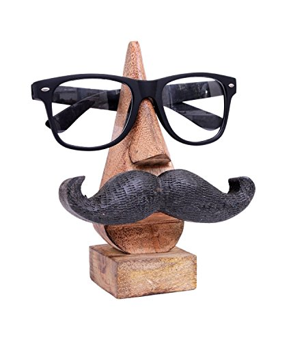 Store Indya Wood Hand Carved Wooden Spectacle Holder With An Amusing Moustache , Beige