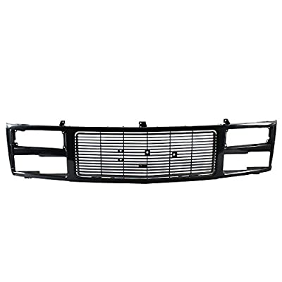 Perfit Liner New Front Black Grille Grill Replacement Compatible With GMC 90-93 C/K 1500 2500 3500 Pickup Truck Fits With Quad Sealed Beam Lamps Type GM1200391 88960432