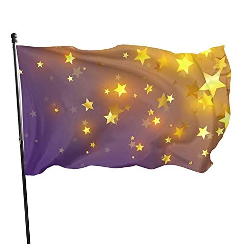 Bandera de jardín de diseño morado con estrellas doradas Bandera de interior al aire libre 3 x 5 pies, banderas de playa duraderas y resistentes a la decoloración con encabezado, fácil de usar