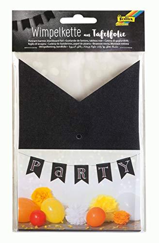 folia 3974 - Wimpelkette aus Tafelfolie, 14 Wimpel, ca. 3,5 m lang, für Hochzeiten, Geburtstage, Partys