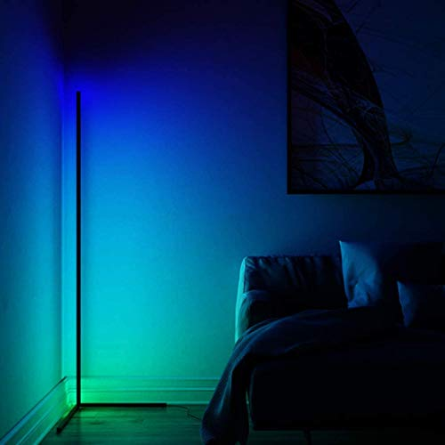JZLPY RGB Lámpara de pie Sala de Estar Decoración Colorido LED Piso Dormitorio Dormitorio Cama Esquina Soporte Soporte Luces Interior Permanente Iluminación 24W con Regulable