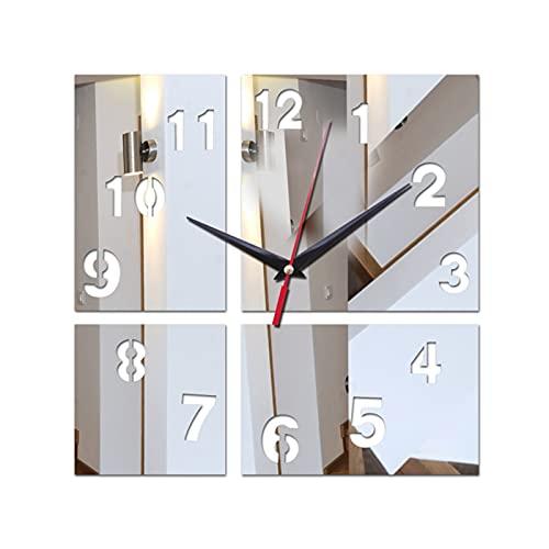 Restaurante familiar Cocina Reloj de pared Reloj de pared acrílico Decoración para el hogar Novedad Regalo Reloj Pegatina Caja fuerte Decoración moderna Decoración Multi-Piece Set ( Color : Silver )