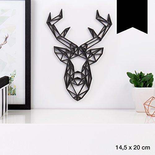 KLEINLAUT 3D-Origamis aus Holz - Wähle EIN Motiv & Farbe - Hirschkopf - 14,5 x 20 cm (M) - Schwarz