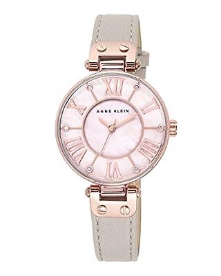 Anne Klein Reloj de cuarzo para mujer con esfera analógica de madreperla y correa de piel rosa 10/N9918RGLP