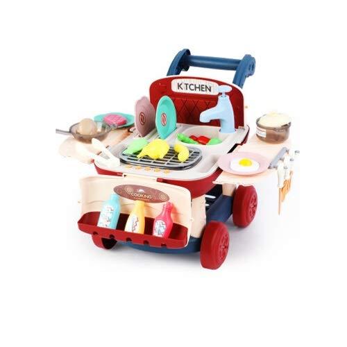 Lihgfw Mädchen Spielzeug Junge Supermarkt Einkaufswagen Infant Baby Puzzle Simulation Küche Küche Utensilien Geschirr Intelligenz Warenkorb Für Kinder über 1 Jahr alt rot (Color : Rot)