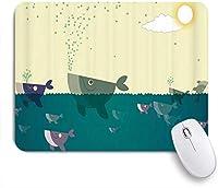 NIESIKKLAマウスパッド 漫画サメ海洋創造海底魚クジラ航海 ゲーミング オフィス最適 高級感 おしゃれ 防水 耐久性が良い 滑り止めゴム底 ゲーミングなど適用 用ノートブックコンピュータマウスマット