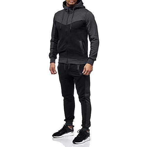 SPE969 Men's Jogger 2 Pc Patchwork Tracksuit,Autumn Winter Packwork Sweatshirt Pants Sets Sports Suit Tracksuit Dark Gray