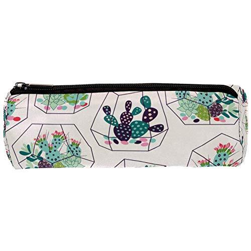 TIZORAX Cactussen in glas Terrariums Potlood Case Pen Rits Tas Coin Organizer make-up kostbare zak voor vrouwen tiener meisjes jongens kinderen