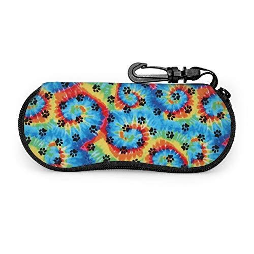 Gafas de sol gafas caso caso caso caso caso con clip de cinturón Tie Dye Paws impresiones arco iris huella huella cremallera portátil gafas bolsa