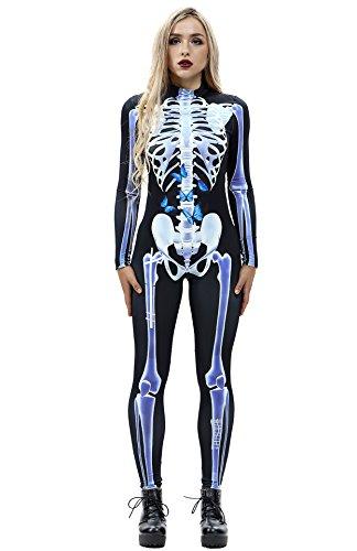 URVIP Skelett Overall Damen Knochen Skeleton Halloween Kostüm Bodysuit Anzug Karneval Fasching BAX-012 L