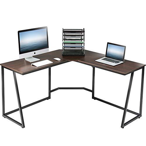 FITUEYES Computertisch Holz Braun L-förmige Schreibtisch Workstation für Haus Büro 140x140x75cm LCD114001WE