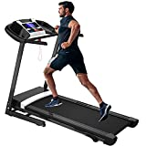 Julyfox Folding Running Treadmill with Incline, 2.0 HP Motorized Fitness Electric Home Treadmill W/Pad Cup Holder Heart Rate Monitor Large LCD Quiet Walking Jogging Exercise Fitness Machine