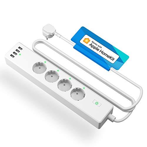 Meross Smart Steckdosenleiste kompatibel mit HomeKit, WLAN Mehrfachsteckdose mit Überspannungsschutz, 4 AC Ausgänge und 4 USB Anschlüsse funktioniert mit Siri, Alexa, Google Home und SmartThings