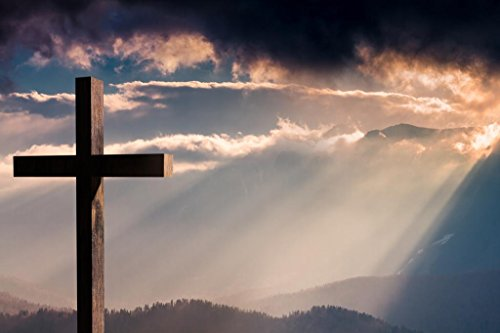 Wooden Cross Crucifix on a Dramatic Colorful Sunset Photo Art Print Cool Huge Large Giant Poster Art 54x36