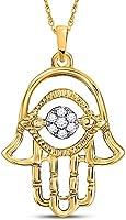 Diamond2Deal 10 Karat Gelbgold runder Diamant Hamsa Fashion Anhänger für Frauen 1/20 Karat