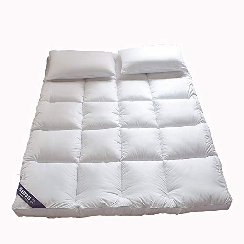 Foldable Futon Tatami Mattress, Japanese Floor Mattress Soft Thick Portable Camping Mat Breathable Durable Mattress Sleeping Pad for Bedroom Living Room,White,180x200cm