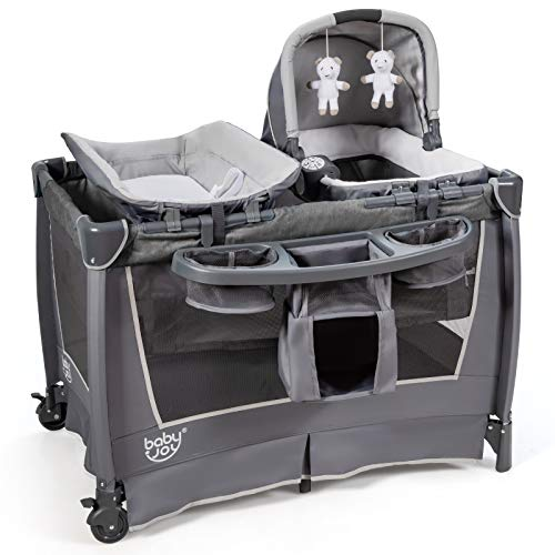 BABY JOY 4 in 1 Portable Baby Playard with Bassinet, Changing Table, Foldable Bassinet Bed & Activity Center, Newborn Napper with Music, Large Capacity Storage Shelf, Oxford Carry Bag (Space Gray)