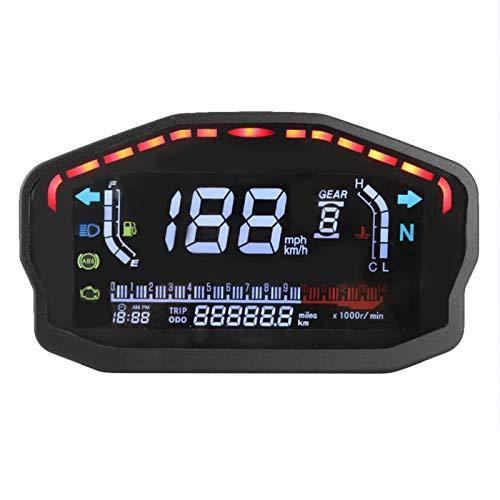 Qiilu Velocímetro, velocímetro digital LCD LED de fabricación profesional, medidor de odómetro, tacómetro de motocicleta, reajuste de instrumentos