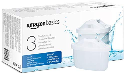 Amazon Basics - Cartucce filtranti per acqua, Compatibile con Brita Maxtra+ | Confezione da 3 | da usare con qualsiasi caraffa filtrante Amazon Basics o BRITA MAXTRA, MAXTRA+ o con sistema PerfectFit
