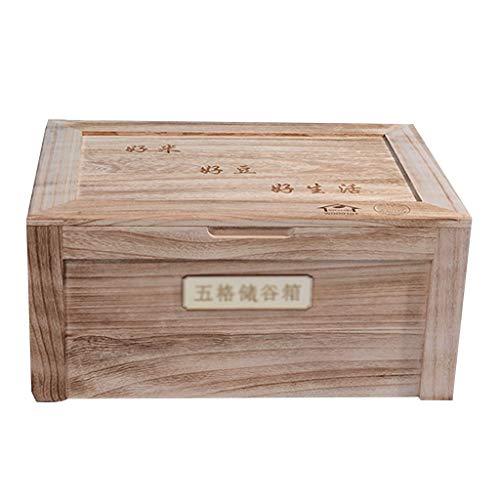 Armoire à Riz Boîte de Rangement multigrain Boîte à Riz de Cuisine Cylindre à Riz en Bois Massif résistant aux Insectes et à l'humidité Boîtes Alimentaires