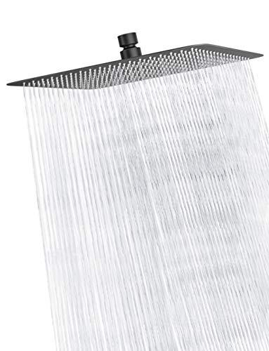 Rainsworth 16 Zoll Luxus Regendusche Anti-Kalk Regen Edelstahl Duschkopf Regendusche Quadratischer Einbauduschköpfe Duschbrause Kopfbrause Wasserfall Regenduschkopf, Schwarz