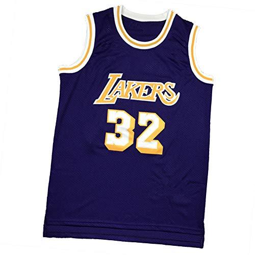 XGYD Johnson # 32 - Camiseta de baloncesto para hombre, diseño retro con malla transpirable bordada, sin mangas, edición conmemorativa, clásico chaleco de básquetbol púrpura-S