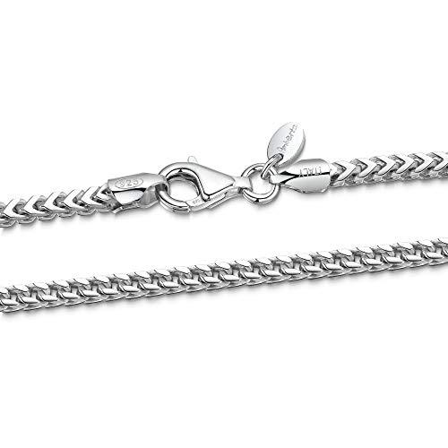 Amberta 925 Plata De Ley Esterlina Collar Para Hombre - Cadena De Franco (Espiga) 2.5 mm - Longitud: 70 cm