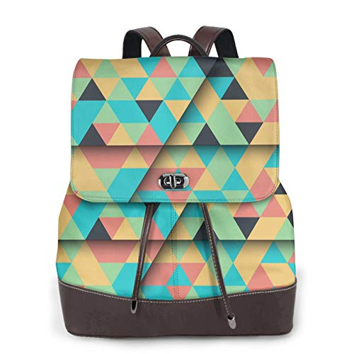 Women's Leather Backpack,Adult Computer Backpack,Geometric Abstraction Blue, Black Business Anti Theft Slim Durable Laptops Backpack College School Computer Bag.