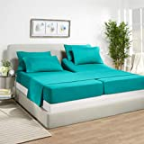 7 Piece Split King Sheets - Bed Sheets Split King Size – Bed Sheet Set Split King Size - 7 PC Sheets - Deep Pocket Sheets Microfiber Bedding Sets - Split King - Teal Blue