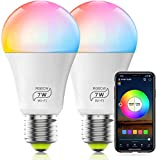 HaoDeng WiFi LED Light, 2Pack Smart Bulb -Timer& Sunrise& Sunset- Dimmable, Multicolor, Warm