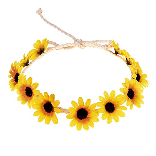 SODIAL Floral Autumn Sunflower Hair Accessories Bridal Tiara Holiday Hair with Sunflower Hair Accessories