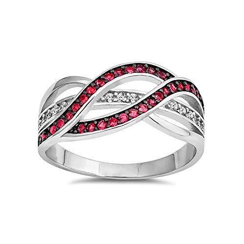 Blue Apple Co. Half Eternity Weave Knot Ring Crisscross Crossover Simulated Red Ruby Round CZ 925 Sterling Silver,Size-10
